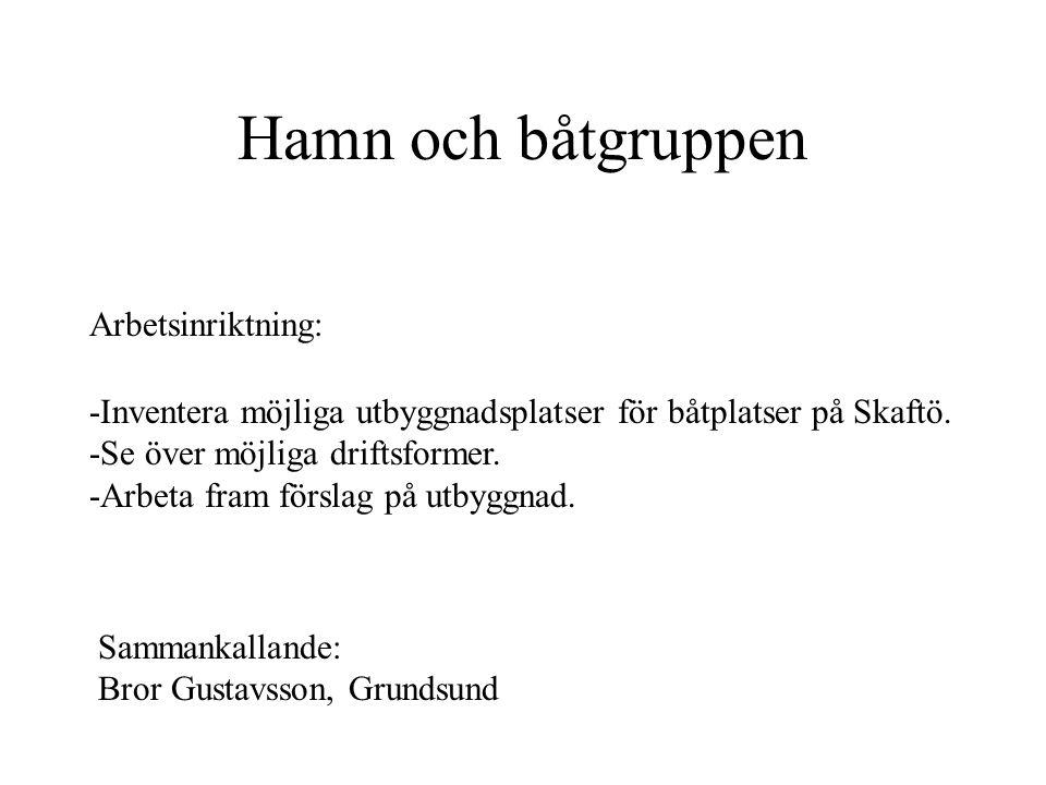Hamn och båtgruppen Arbetsinriktning: