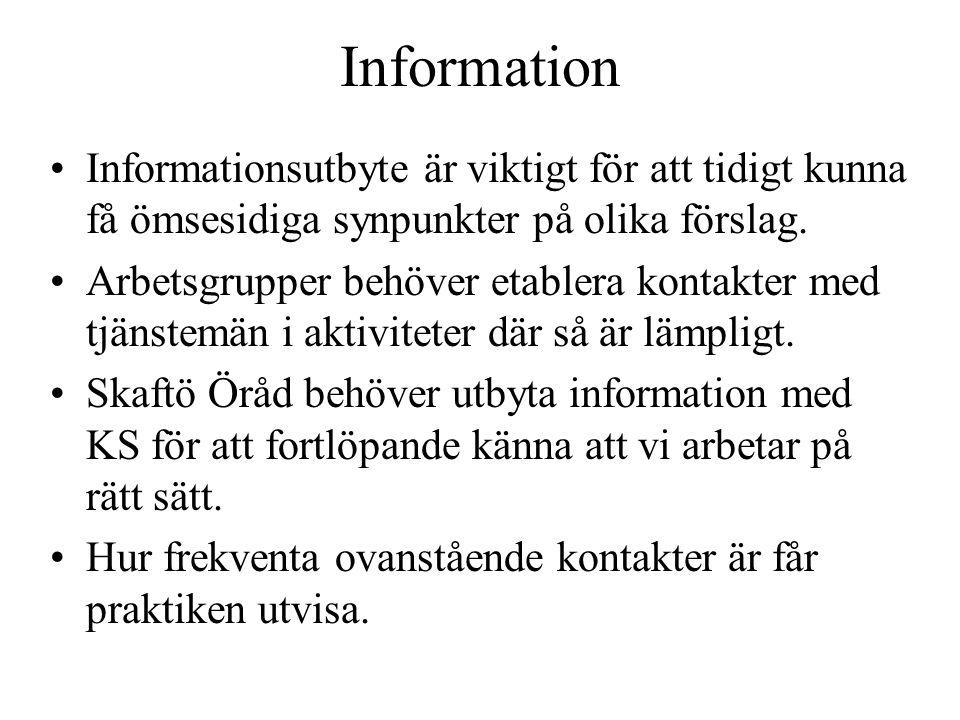 Information Informationsutbyte är viktigt för att tidigt kunna få ömsesidiga synpunkter på olika förslag.