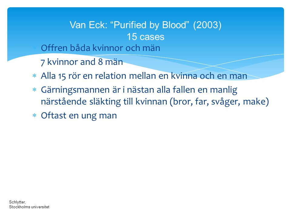 Van Eck: Purified by Blood (2003) 15 cases