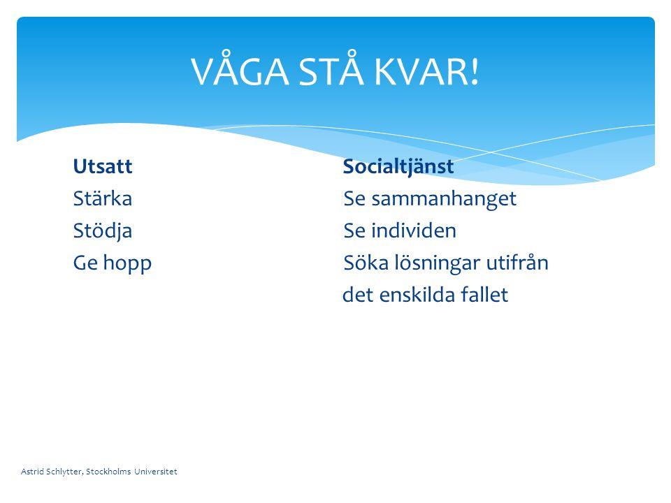 VÅGA STÅ KVAR! Utsatt Socialtjänst Stärka Se sammanhanget Stödja Se individen Ge hopp Söka lösningar utifrån det enskilda fallet