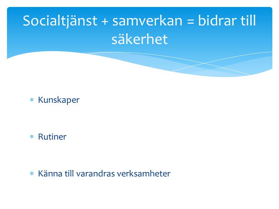 Socialtjänst + samverkan = bidrar till säkerhet