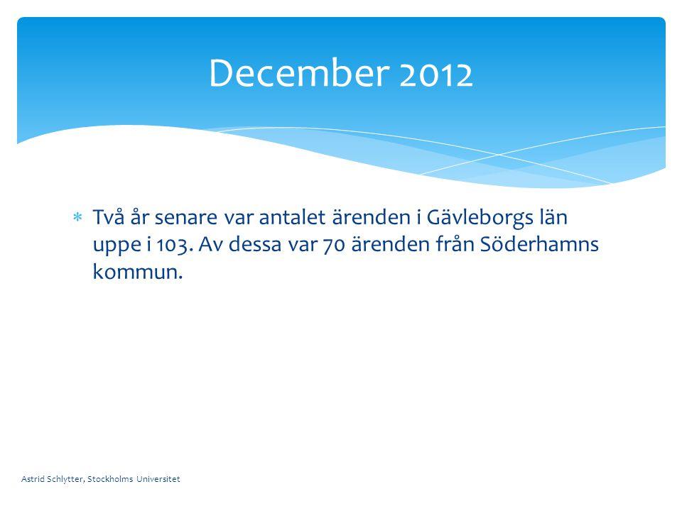 December 2012 Två år senare var antalet ärenden i Gävleborgs län uppe i 103. Av dessa var 70 ärenden från Söderhamns kommun.