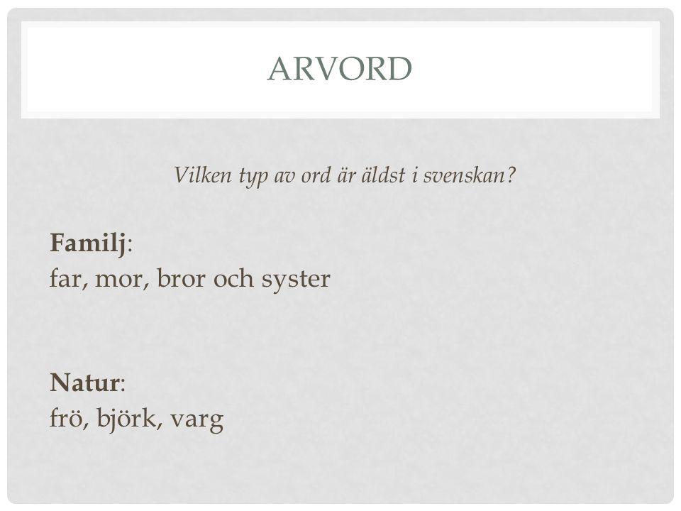 Vilken typ av ord är äldst i svenskan