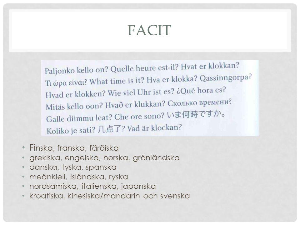 Facit Finska, franska, färöiska