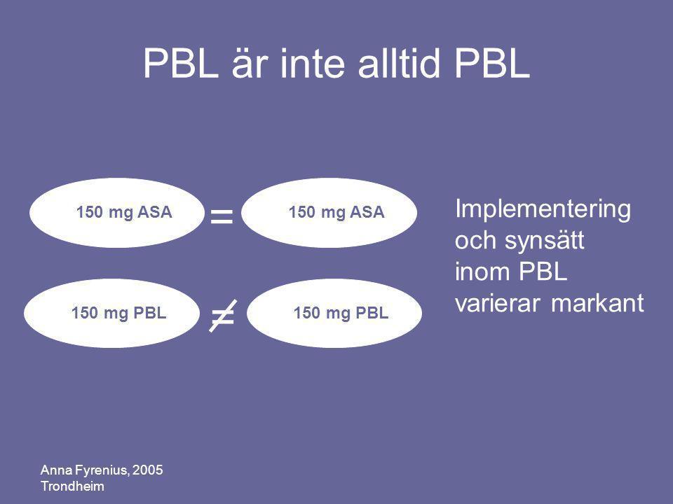 = = PBL är inte alltid PBL
