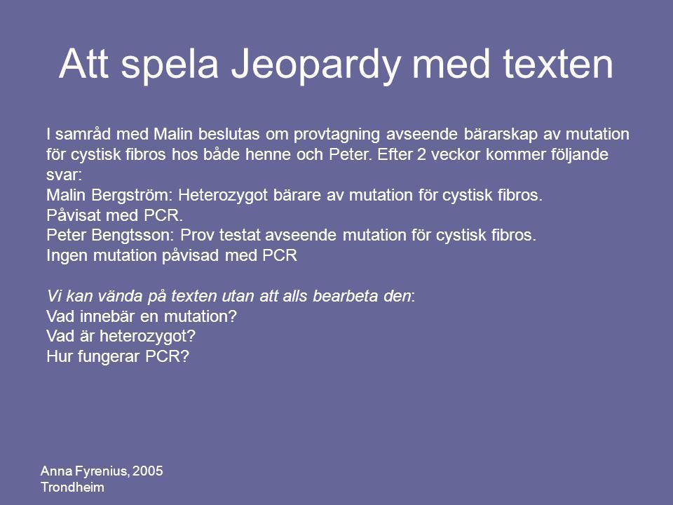 Att spela Jeopardy med texten