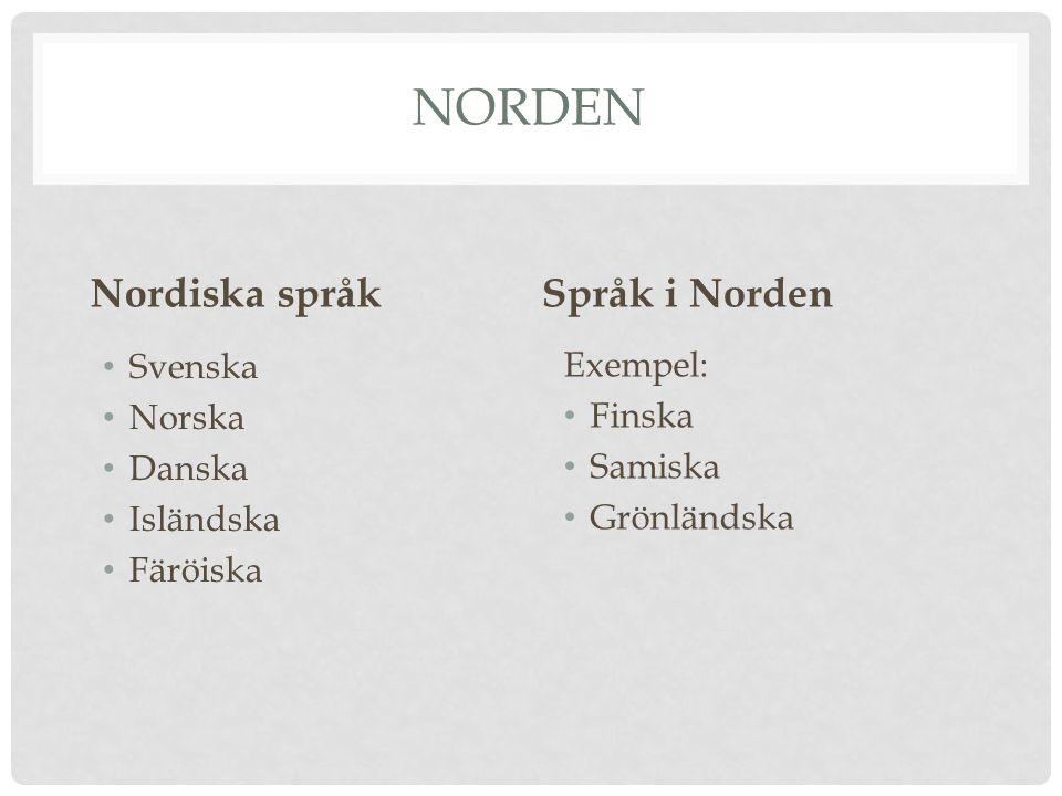 Norden Nordiska språk Språk i Norden Svenska Exempel: Norska Finska