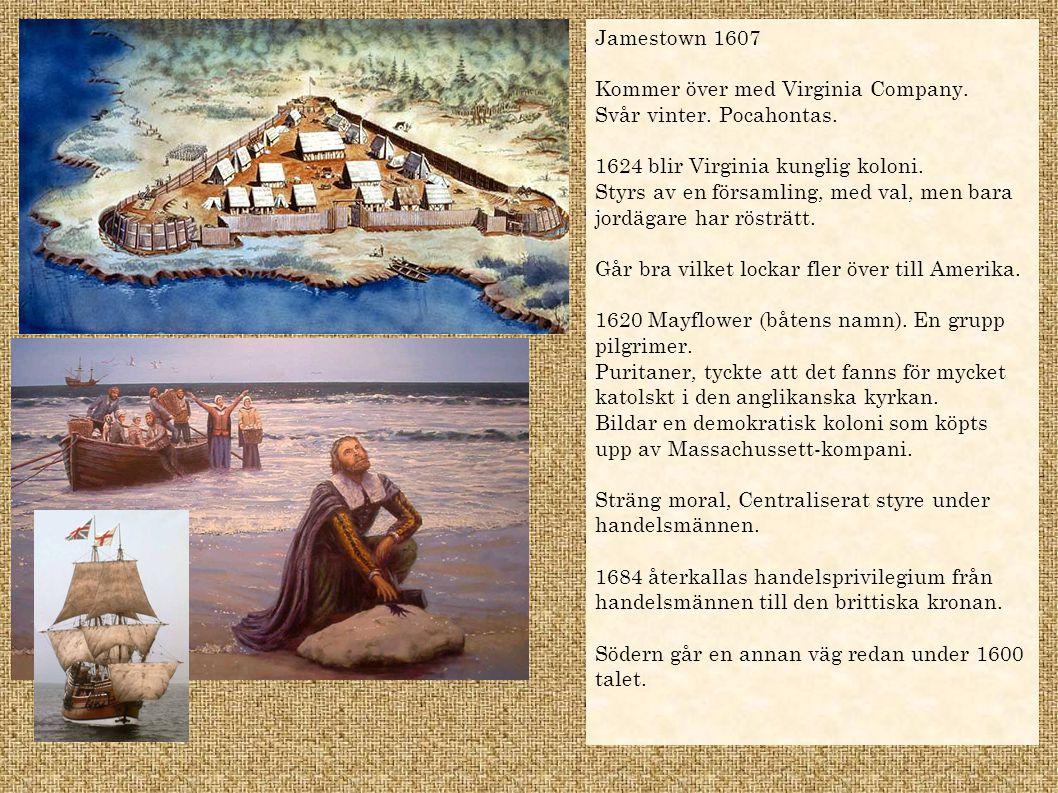 Jamestown 1607 Kommer över med Virginia Company. Svår vinter. Pocahontas. 1624 blir Virginia kunglig koloni.