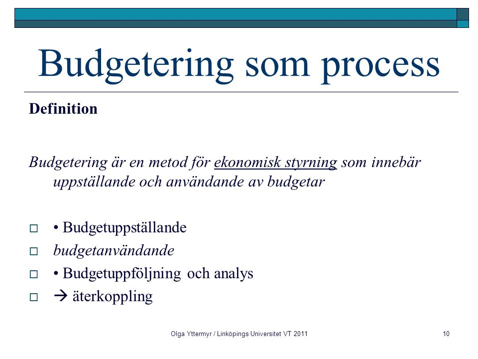Budgetering som process