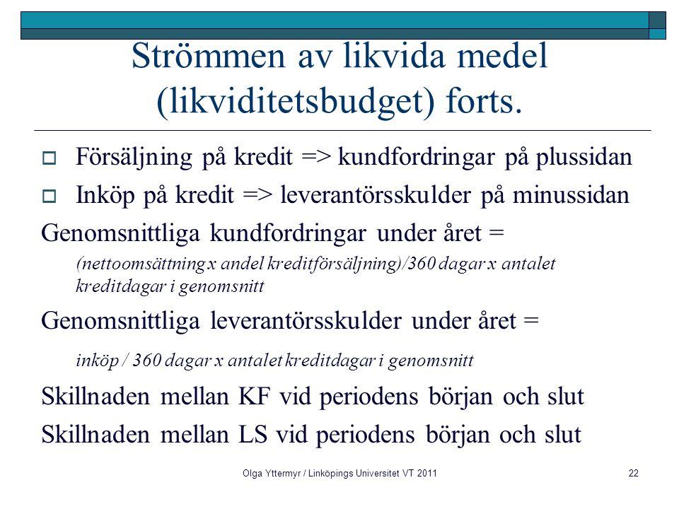 Strömmen av likvida medel (likviditetsbudget) forts.