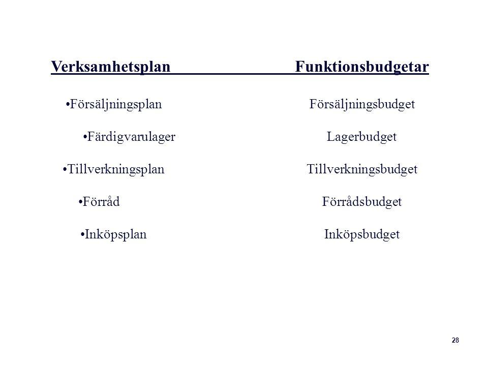 Verksamhetsplan Funktionsbudgetar