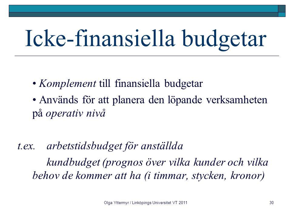 Icke-finansiella budgetar