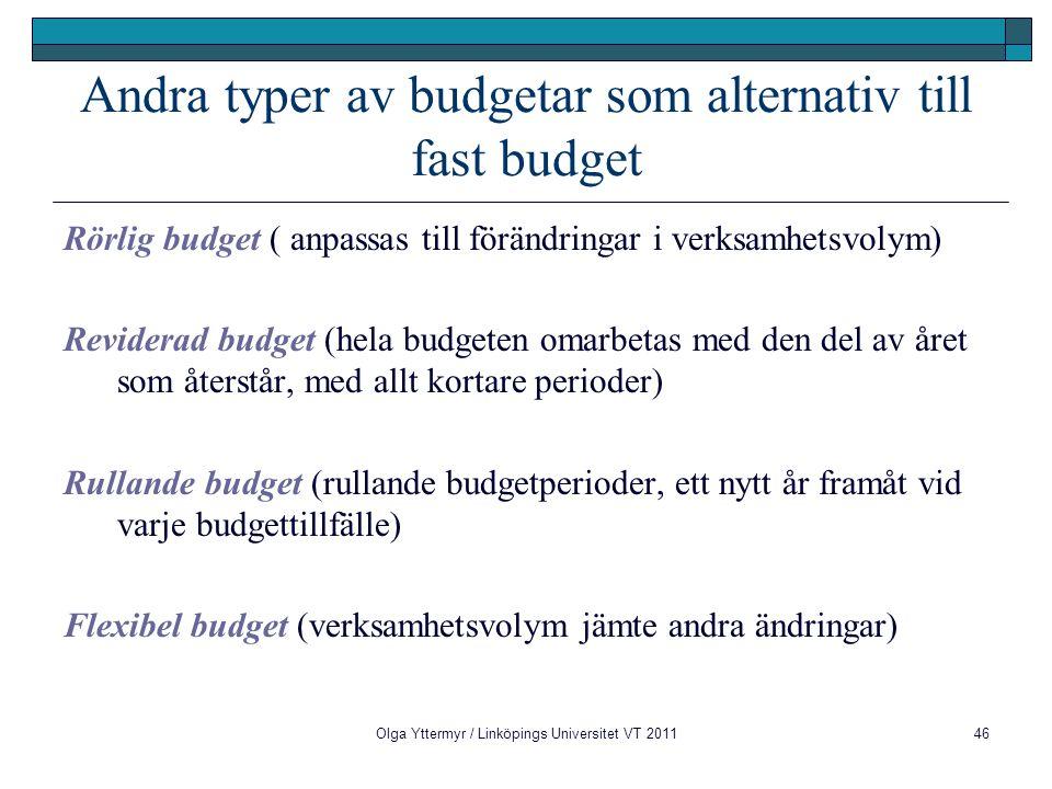 Andra typer av budgetar som alternativ till fast budget