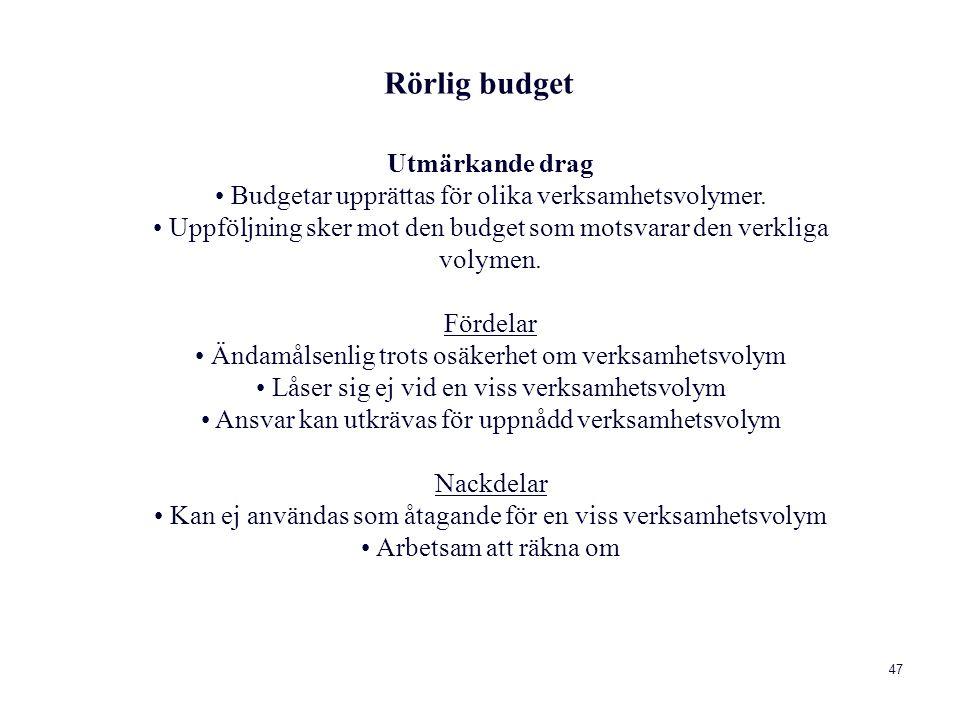 Rörlig budget Utmärkande drag