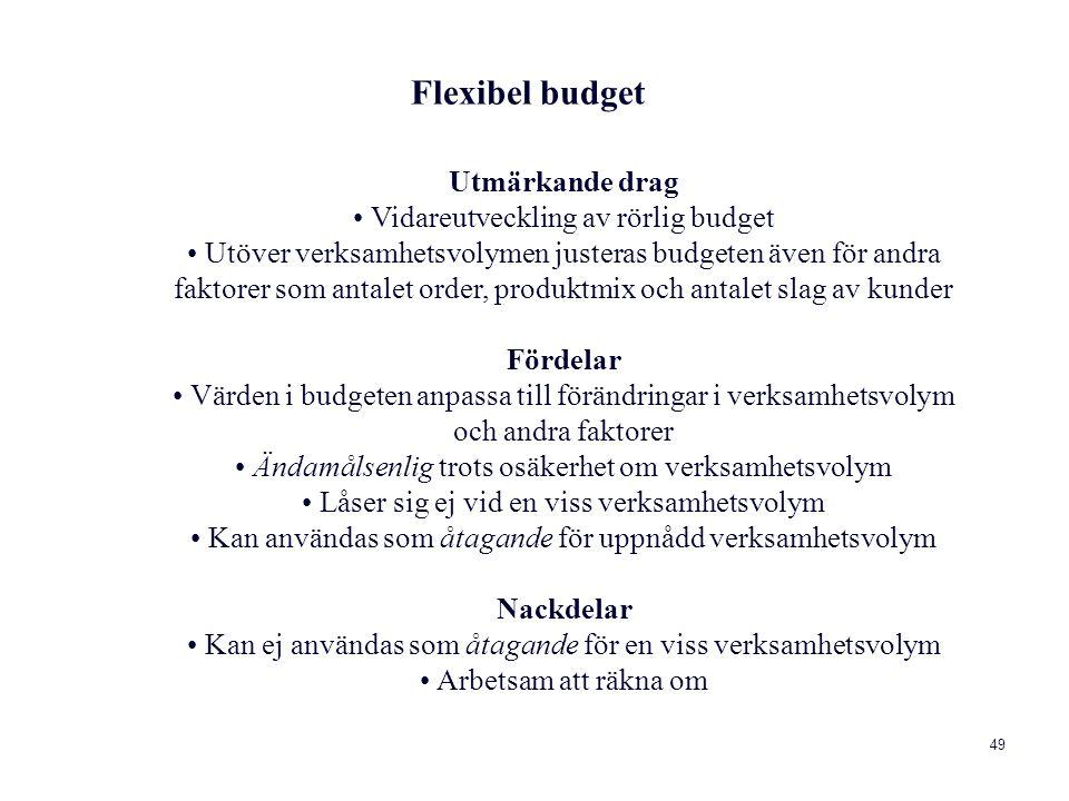 Flexibel budget Utmärkande drag • Vidareutveckling av rörlig budget