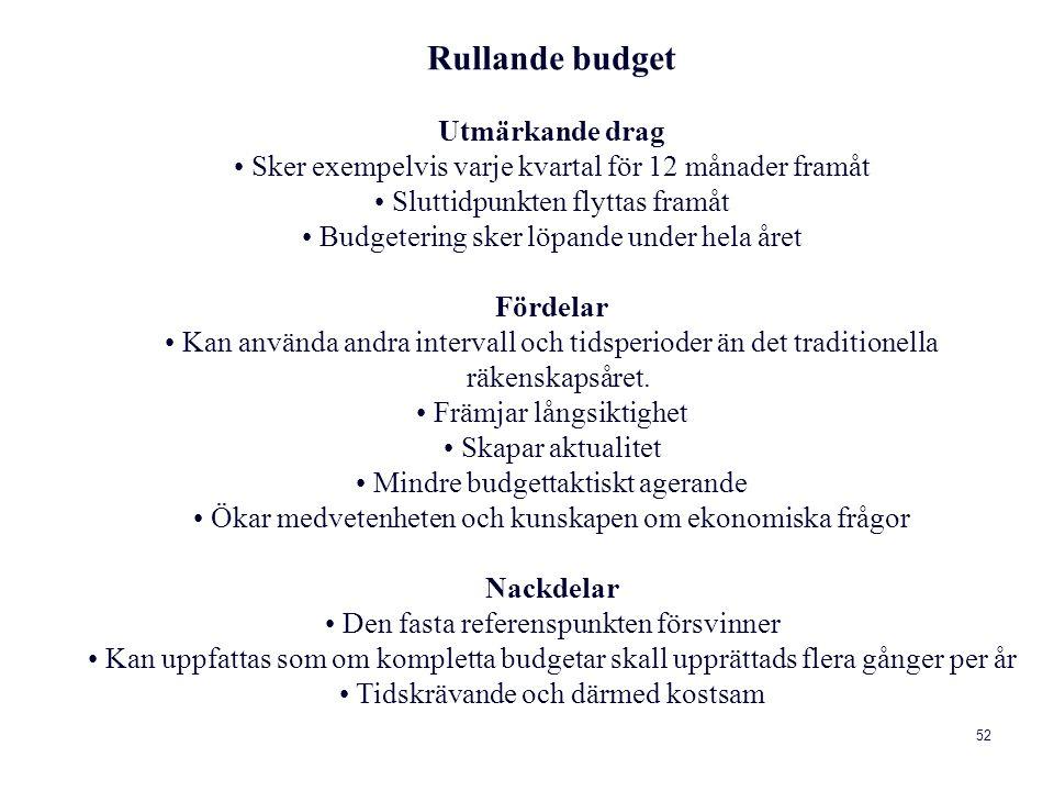 Rullande budget Utmärkande drag