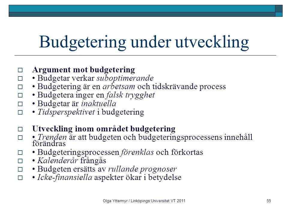Budgetering under utveckling