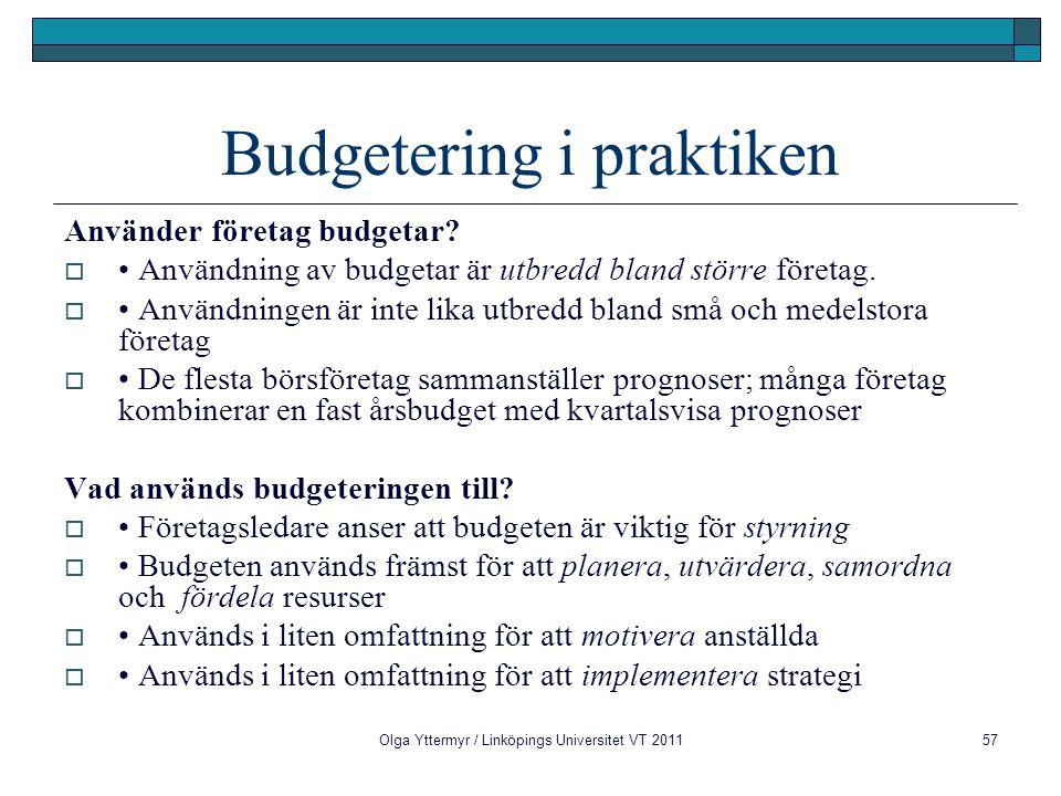 Budgetering i praktiken