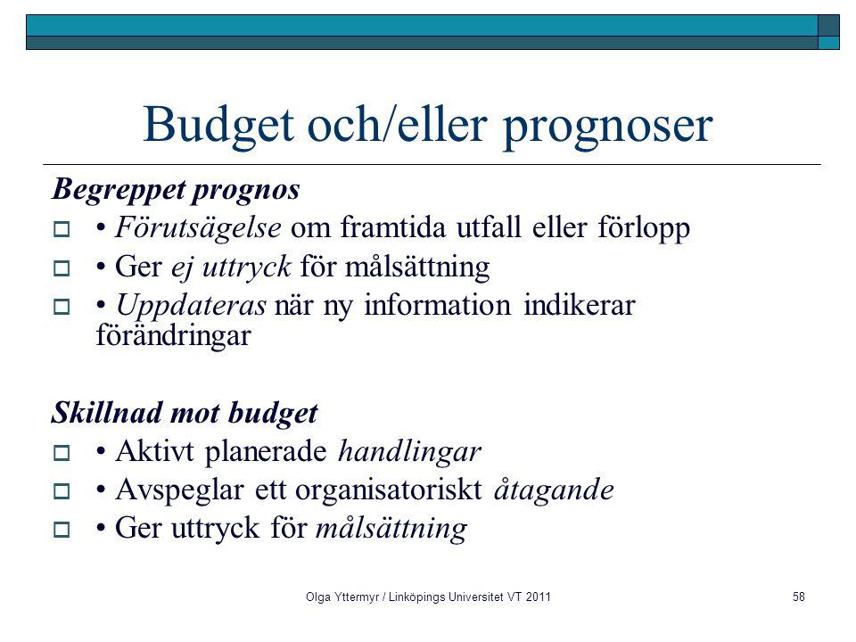 Budget och/eller prognoser