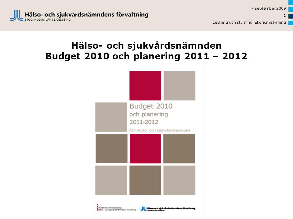 Hälso- och sjukvårdsnämnden Budget 2010 och planering 2011 – 2012