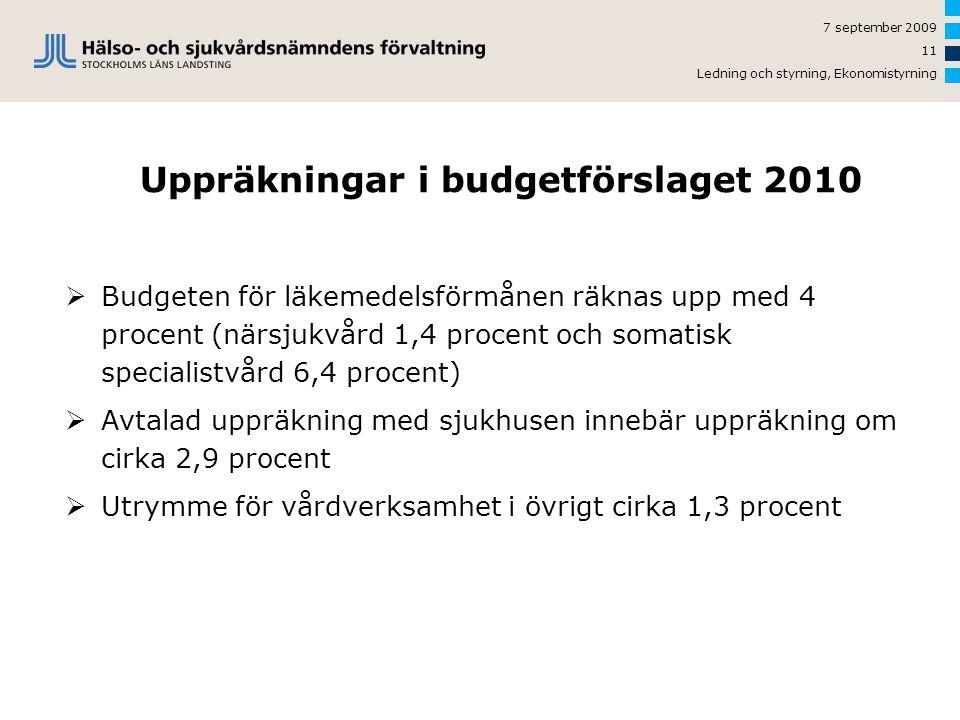 Uppräkningar i budgetförslaget 2010