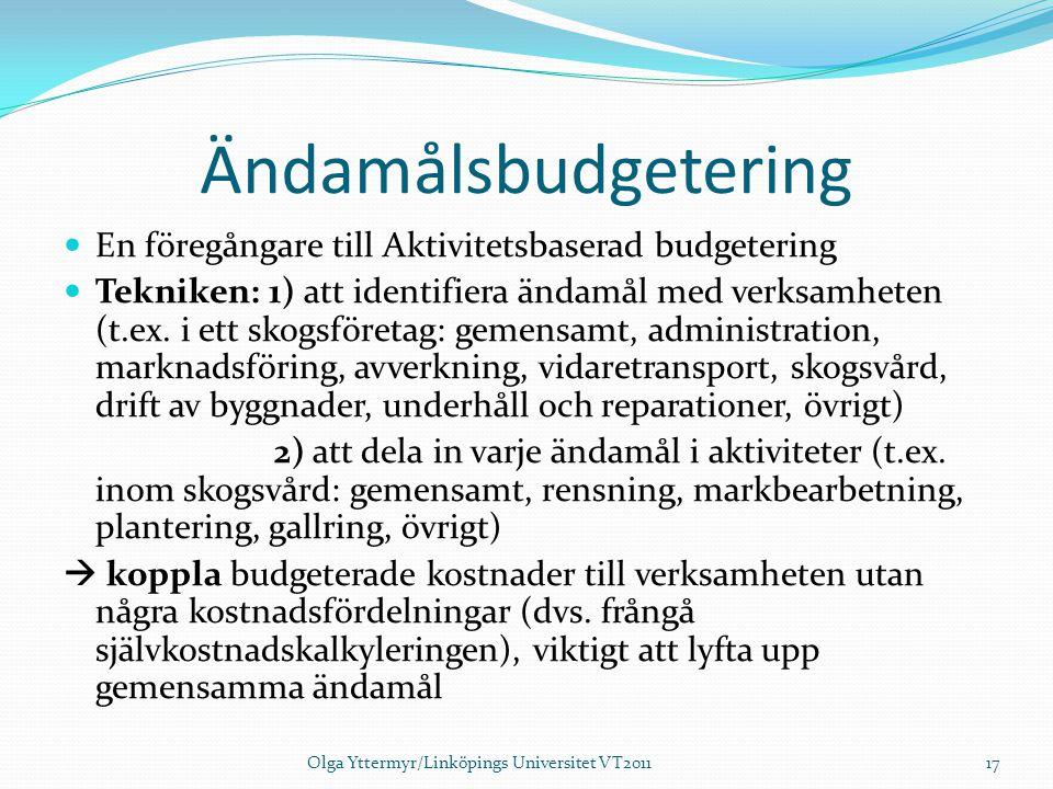 Ändamålsbudgetering En föregångare till Aktivitetsbaserad budgetering