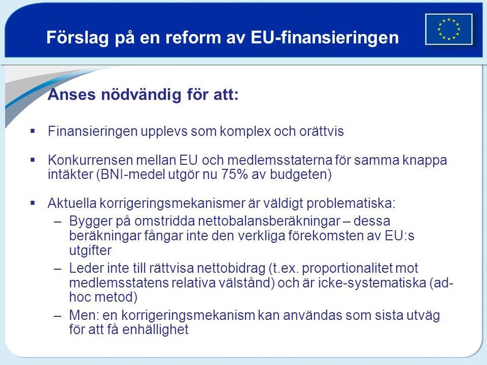 Förslag på en reform av EU-finansieringen