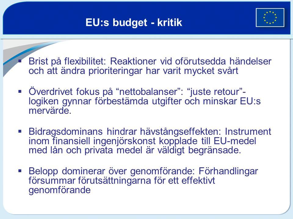 EU:s budget - kritik Brist på flexibilitet: Reaktioner vid oförutsedda händelser och att ändra prioriteringar har varit mycket svårt.