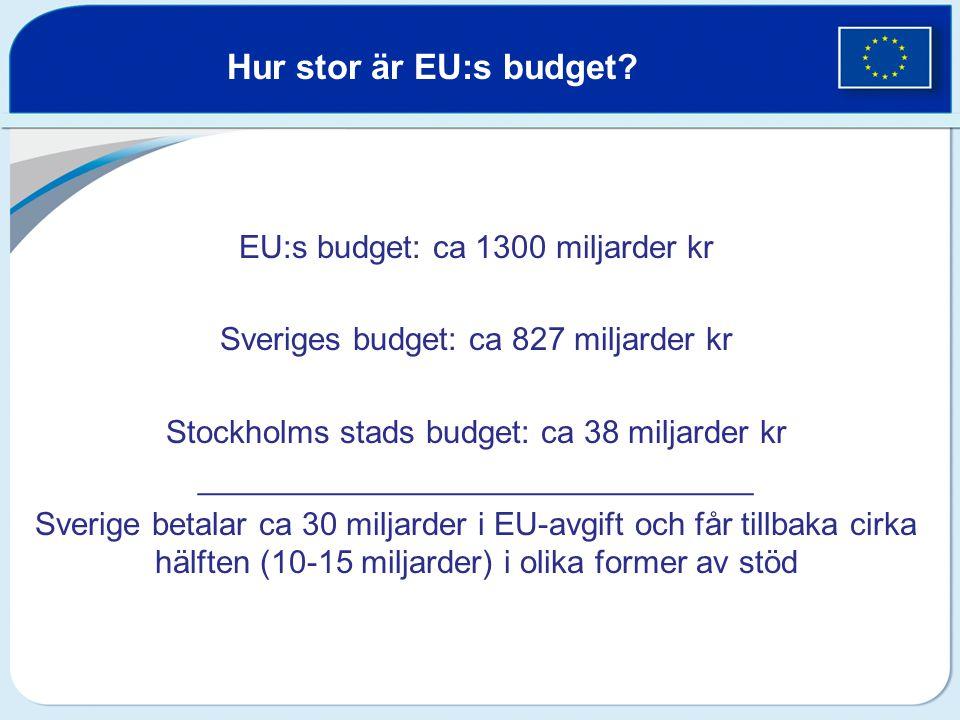 Hur stor är EU:s budget EU:s budget: ca 1300 miljarder kr