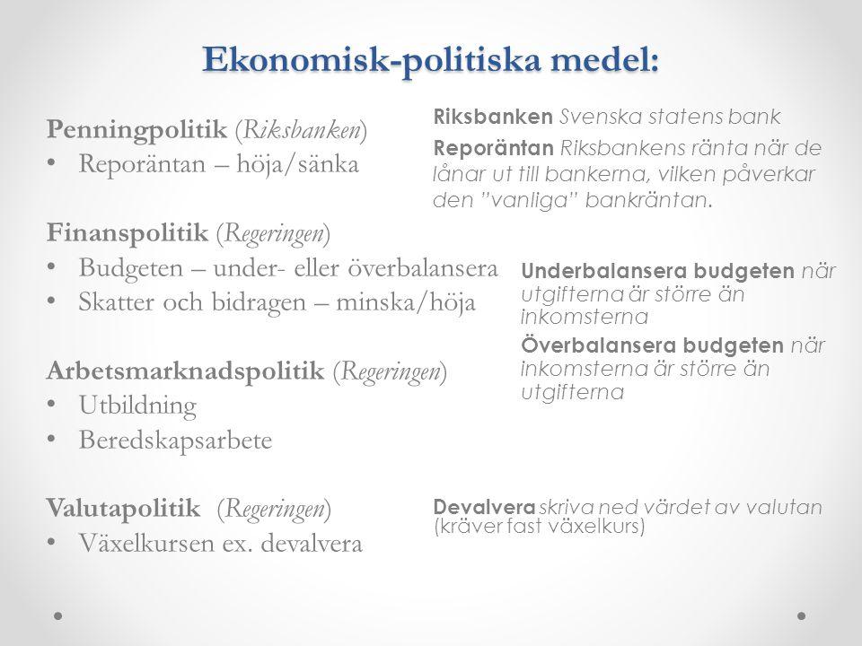 Ekonomisk-politiska medel: