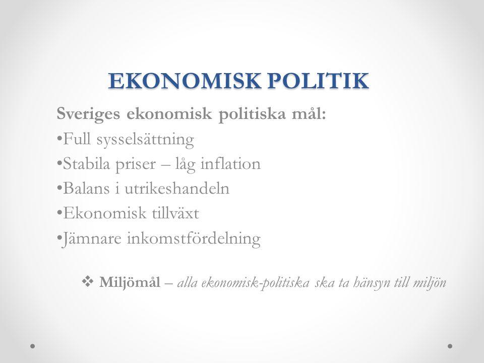 EKONOMISK POLITIK Sveriges ekonomisk politiska mål: