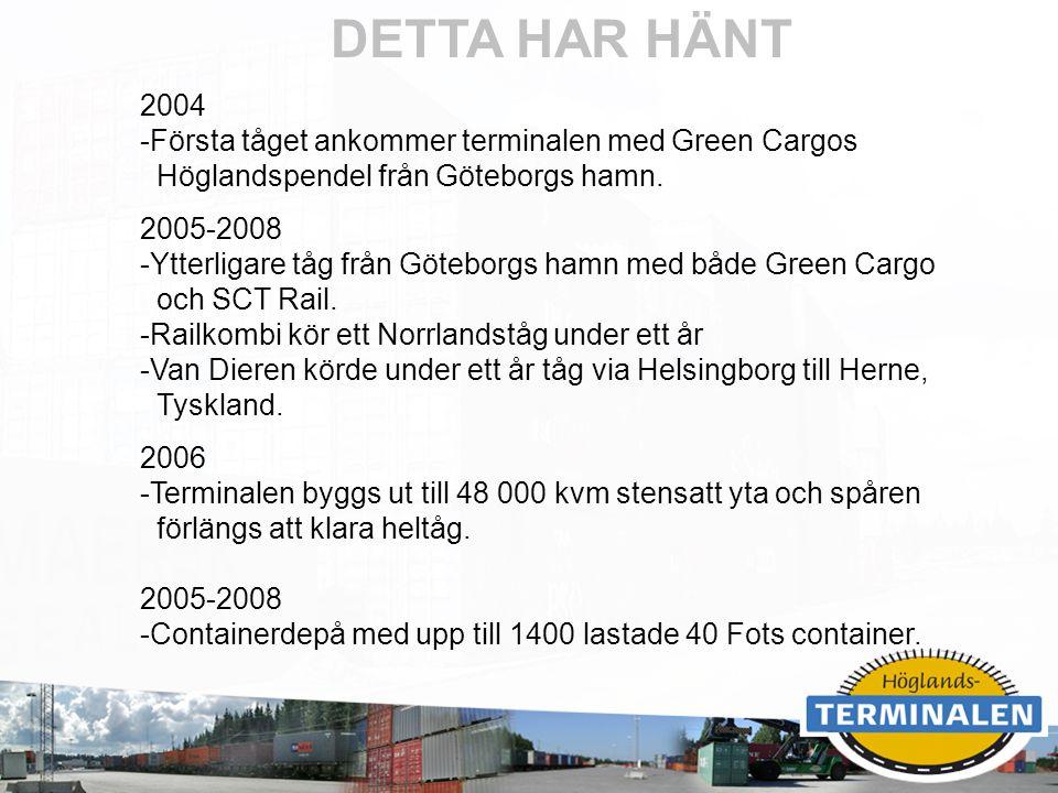 DETTA HAR HÄNT 2004 Första tåget ankommer terminalen med Green Cargos