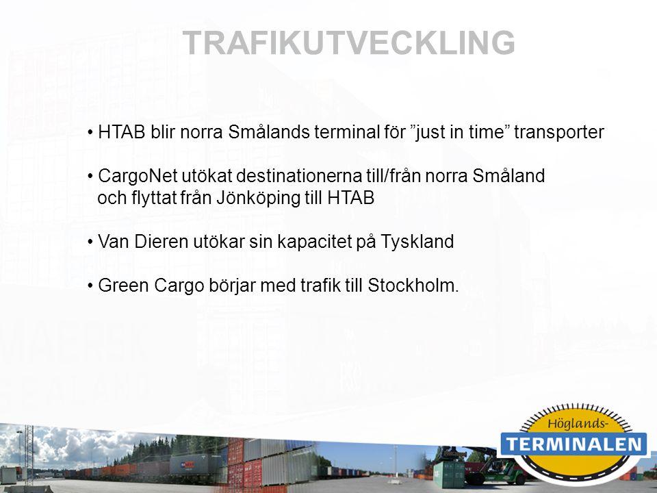 TRAFIKUTVECKLING HTAB blir norra Smålands terminal för just in time transporter. CargoNet utökat destinationerna till/från norra Småland.