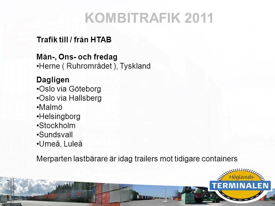 KOMBITRAFIK 2011 Trafik till / från HTAB Mån-, Ons- och fredag