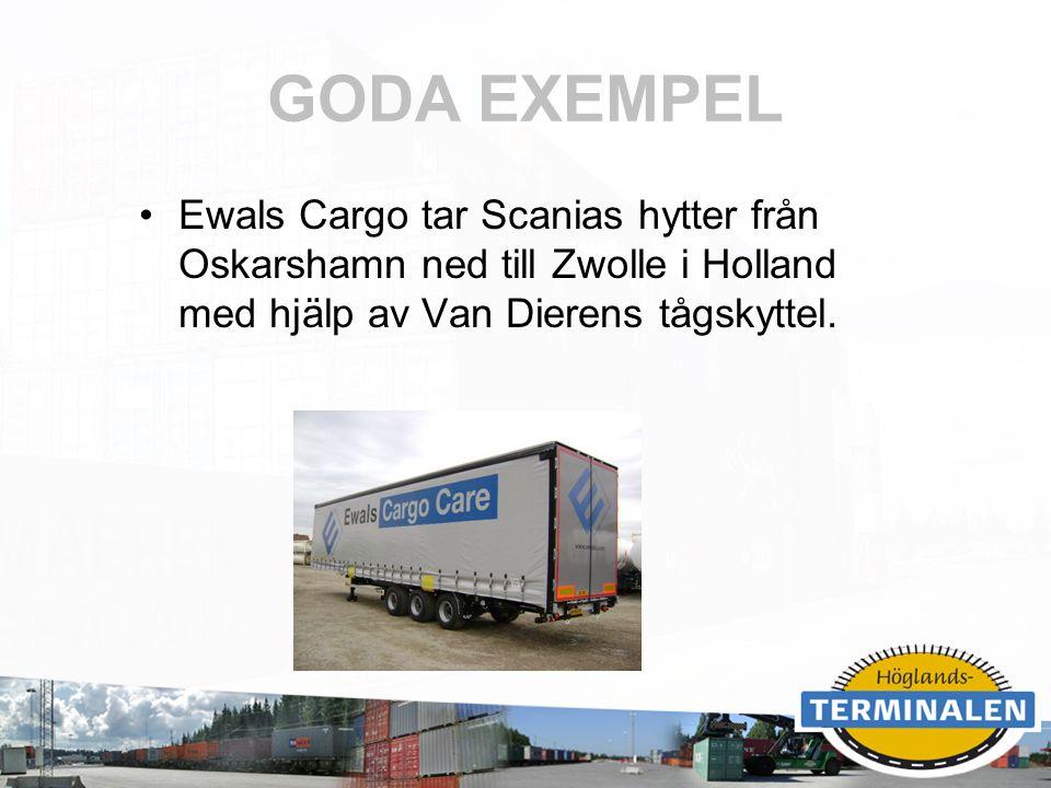 GODA EXEMPEL Ewals Cargo tar Scanias hytter från Oskarshamn ned till Zwolle i Holland med hjälp av Van Dierens tågskyttel.