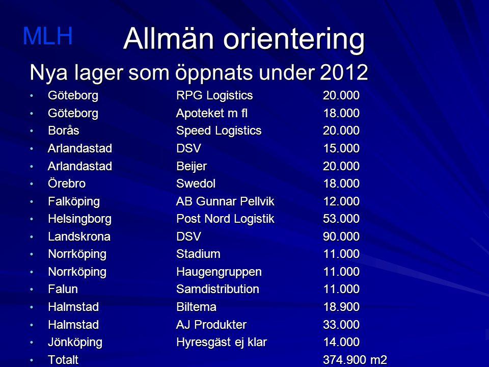 Allmän orientering MLH Nya lager som öppnats under 2012