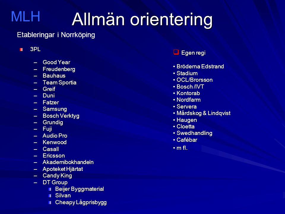 Allmän orientering MLH Etableringar i Norrköping Egen regi 3PL