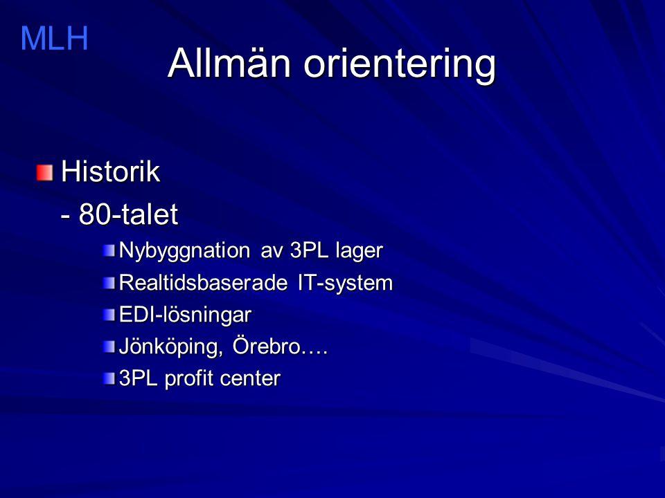 Allmän orientering MLH Historik - 80-talet Nybyggnation av 3PL lager