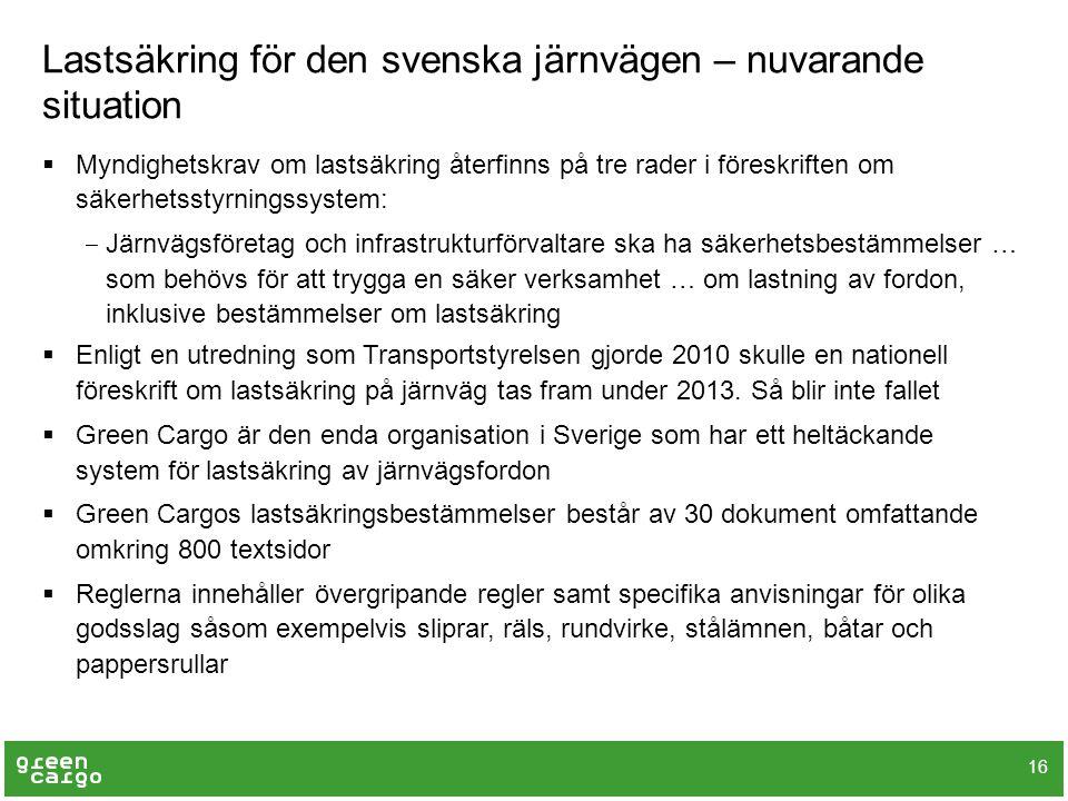 Lastsäkring för den svenska järnvägen – nuvarande situation