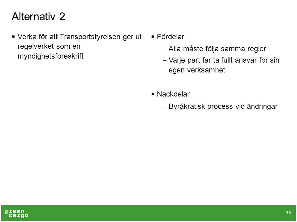 Alternativ 2 Verka för att Transportstyrelsen ger ut regelverket som en myndighetsföreskrift. Fördelar.