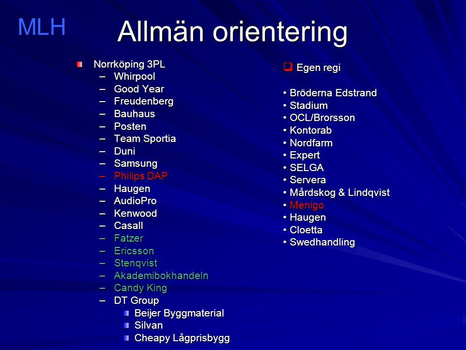 Allmän orientering MLH Egen regi Norrköping 3PL Whirpool Good Year