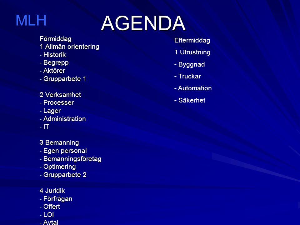 AGENDA MLH Förmiddag 1 Allmän orientering Historik Begrepp Aktörer