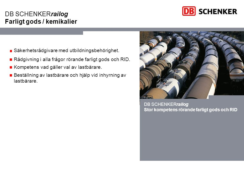 DB SCHENKERrailog Farligt gods / kemikalier
