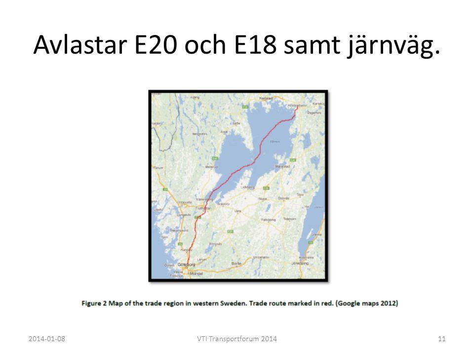 Avlastar E20 och E18 samt järnväg.