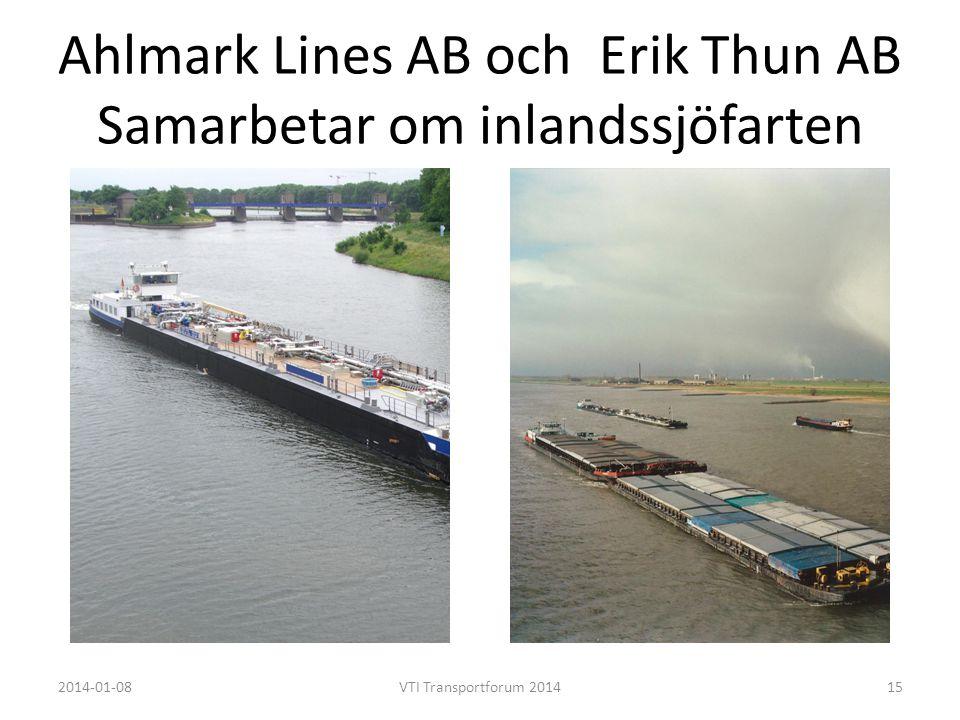 Ahlmark Lines AB och Erik Thun AB Samarbetar om inlandssjöfarten