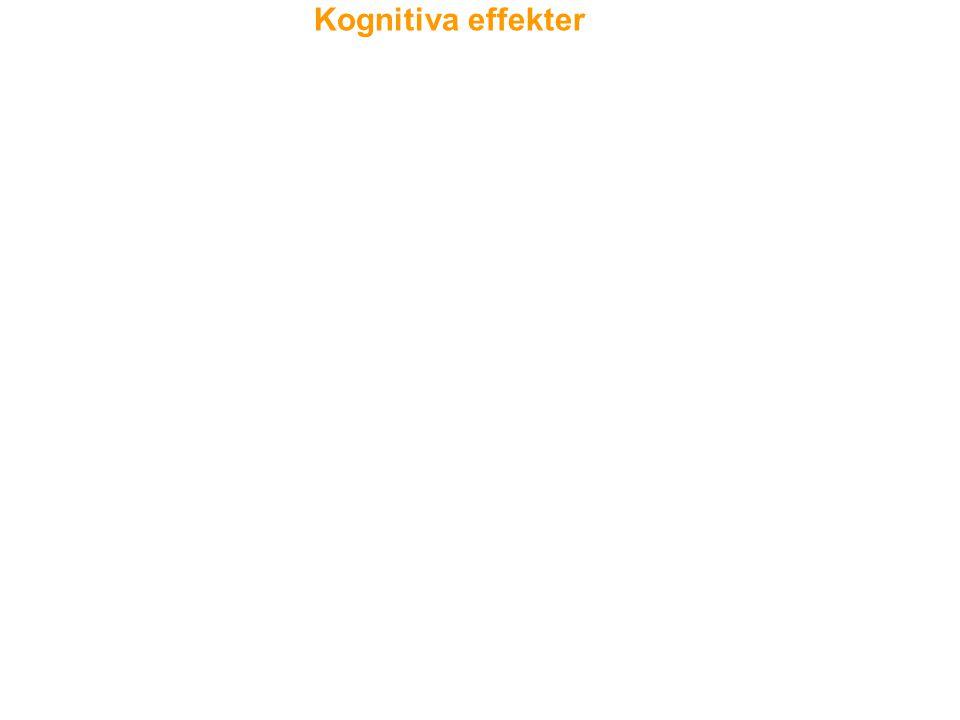 Kognitiva effekter Akuta neuropsykologiska effekter (inom 12-24 timmar) inkluderar brister. i uppmärksamhet, exekutiv funktion och korttidsminnet.
