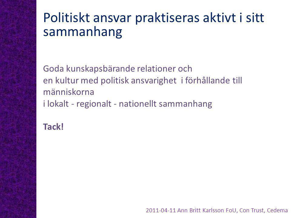 Politiskt ansvar praktiseras aktivt i sitt sammanhang