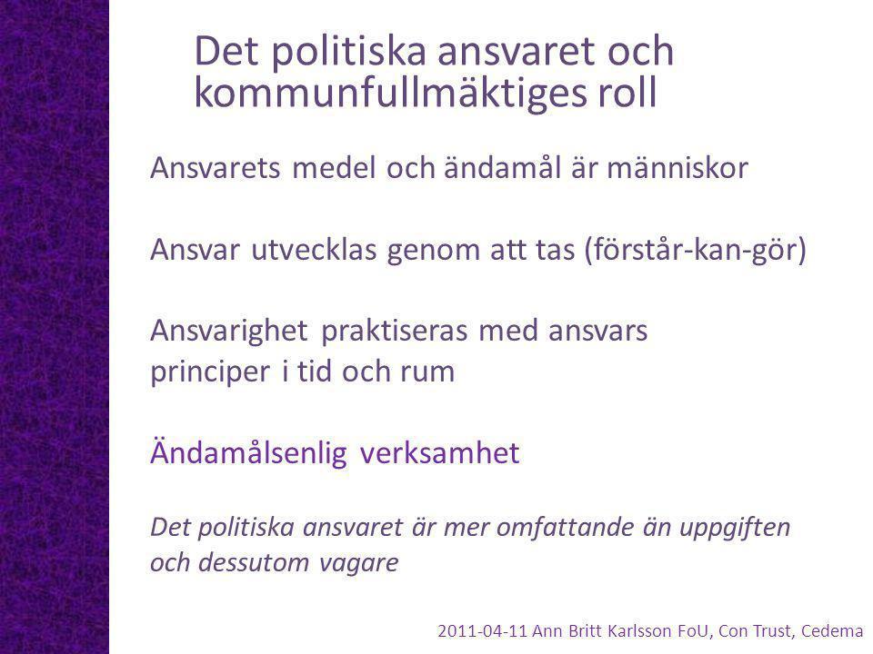Det politiska ansvaret och kommunfullmäktiges roll