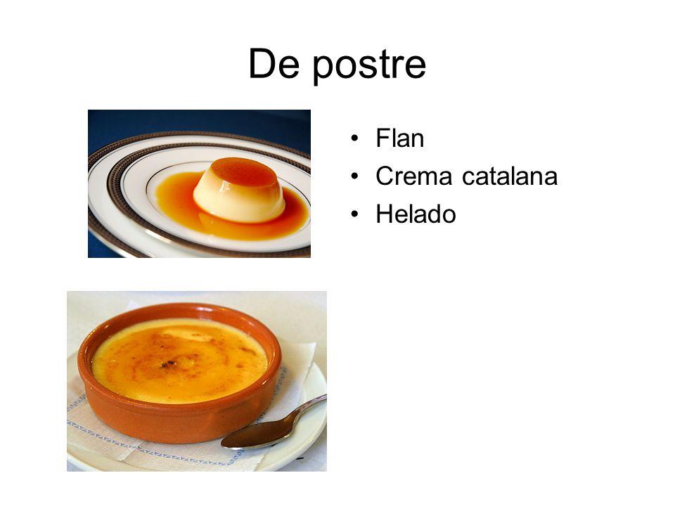 De postre Flan Crema catalana Helado
