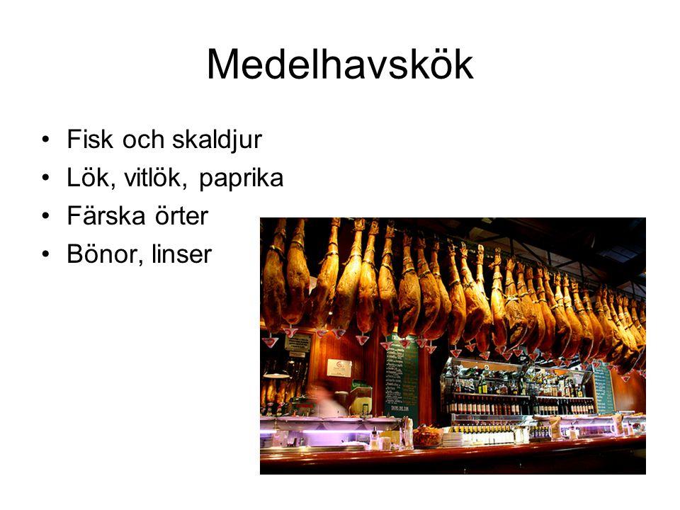 Medelhavskök Fisk och skaldjur Lök, vitlök, paprika Färska örter